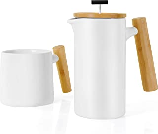 Ceramic French Press Coffee Maker/Coffee Press/Coffee Plunger (24 oz.) |Non-Porous Stoneware | with Coffee Mug (White)