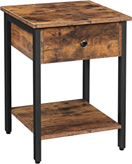 HOOBRO Nightstand, 2-Tier End Table, Industrial Side Table with Drawer and Storage Shelf, Wood Accent Table with Metal Fra...