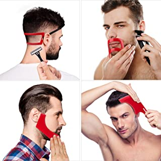 4 Pieces Beard Shaping and Haircut Tool Kit, Beard Shaping Tool, Neckline Template Guide, Hairline Template Stencil, Musta...