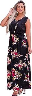Vestido Feminino Midi Longo Estampado + Colar - YE1213