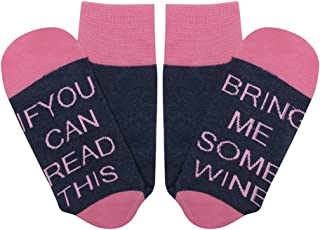 Novelty Crew Socks, Funny Saying Words Knitting, If You Can Read This Combed Wine Beer Coffee Socks