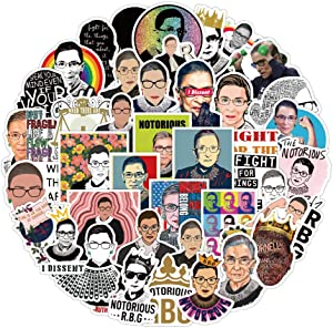50pcs Ruth Bader Ginsburg Stickers, LetsRun Waterproof Vinyl Stickers for Laptop, Bumper, Water Bottles, Computer, Phone, Hard hat, Car Stickers and Decals, Women Power Feminist Gifts