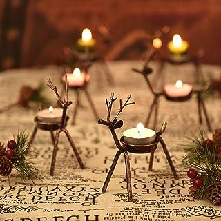 Rocinha Reindeer Candle Holder, Set of 6 Tea Candles Holders Holiday Candlestick..