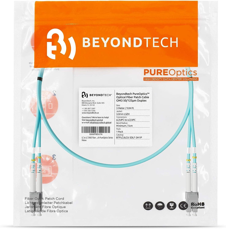 - 50//125um OM3 10G LC to LC Fiber Patch Cable Multimode Duplex 65.6ft Beyondtech PureOptics Cable Series 20m
