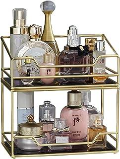 2層重ねられるガラス製香水トレイ / 2タイラー 広々としたゴールドブラックミラーメタルバスルームトレイ メイクアップ&ジュエリーオーガナイザー 装飾トレイ 化粧台/デザート/カウンタートップ/キッチン用