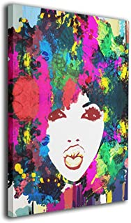 Okoart Art-Logo African Abstract African American Splashing African Lady Afro Hair Modern Wall Art Oil Paintings Giclee Canvas Prints for Home Decorations 16x20inches