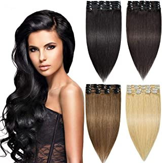 Sponsored Ad - Modernfairy Hair Remy Human Hair Extensions Clip in for Women 8Pcs 18 Clips 70g Remy Clip in Hair Extension...