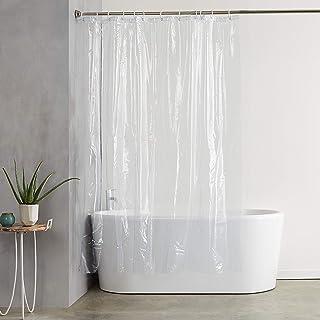 Cuco´S Nest Cortina de Ducha PEVA, Mod. Prima, 120 x 200 cm. Transparente, Impermeable, Antimoho, Antibacterias. Incluye 12 Anillas