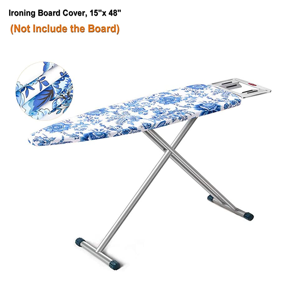 iiSPORT Heat-Reflective Ironing Board Cover & Cotton Pad with Drawstring Cord, 15
