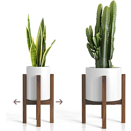 """Mid Century Plant Stand - Adjustable Modern Indoor Plant Holder - Brown Planter Fits Medium & Large Pots Sizes 8 9 10 11 12 inches (Not Included) (Adjustable Width: 8-12"""" x 16"""" Tall, Dark Brown)"""