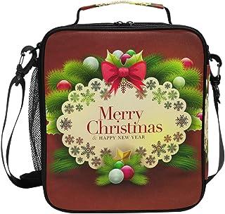 Sac à déjeuner isotherme carré, portable et de grande capacité, motif Merry Christmas avec fond rouge, pour voyage, pique-...