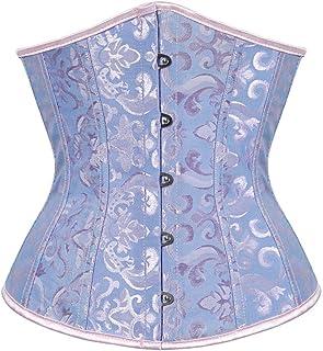 مشد كورسيه بتصميم فينتاج وستيمبنك اسفل الصدر بمقاس كبير، لنحت الخصر والصدر وشد البطن للنساء ازرق جاكارد 4X-Large