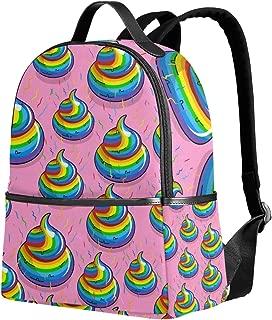 Use4 Rainbow Poop Emoji Polyester Backpack School Travel Bag