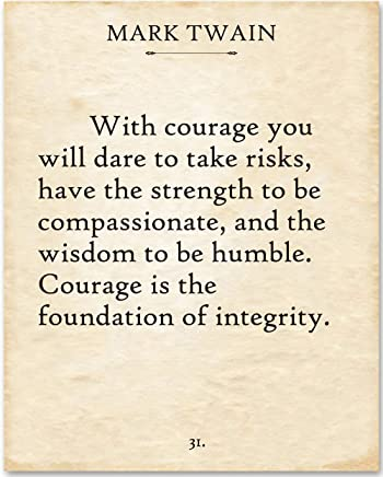 Mark Twain - With Courage. - 11x14 Unframed Typography Book Page Print - Makes a Great Gift Under $15 for Book Lovers