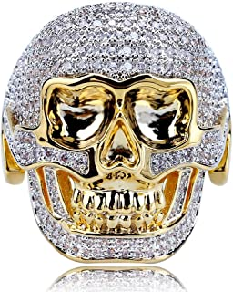 14K Gold and Silver Plated Fully Iced Out CZ Simulated Diamond Biker Skull Punk Ring for Men
