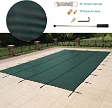 WICHEMI Pool Safety Cover Rectangle Inground Safety Pool Cover Green Mesh Solid In Ground Winter Cover for Swimming Pool, 20 x 40 Feet
