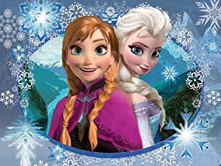 Frozen Anna and Elsa Snow Flakes Edible Cake Topper Frosting 1/4 Sheet Birthday Party