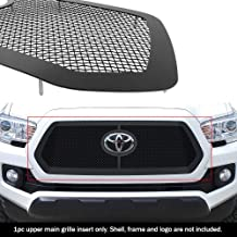 APS Compatible with 2018-2019 Toyota Tacoma with Front Sensor TSS Main Upper Stainless Steel Black Mesh Grille Insert N19-...