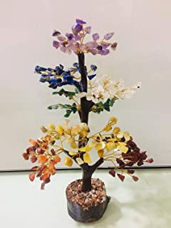 Seven Chakra Healing Reiki Natural Gemstone Tree Stone Feng Shui Bonsai Money Good Luck, Wealth Health & Prosperity Christmas Tree Spiritual Gift EMF Protection Handmade Size : 10-12 Inches Approx