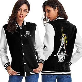 Freddie Mercury Queen-Rock-Band Womens Baseball Jacket Sweater Sport Top Coat Outerwear