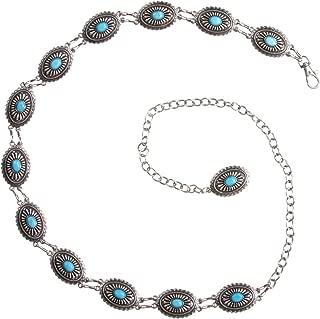 Women's Western Oval Turquoise Stone Concho Skinny Chain Belt