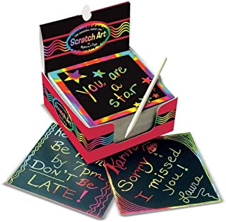 "Melissa & Doug Scratch Art Box of Rainbow Mini Notes, Arts & Crafts, Wooden Stylus, 125 Count, 3.75"" H x 3.75"" W x 1.75"" L"