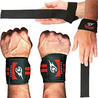 Premium Wrist Weightlifting Straps Pair + Wrist Wraps Pair + Carry Bag, Perfect Weight Lifting Bundle, Heavy Duty Made for Deadlifts, Gym, Powerlifting, Strong Grip Support - For Men and Women