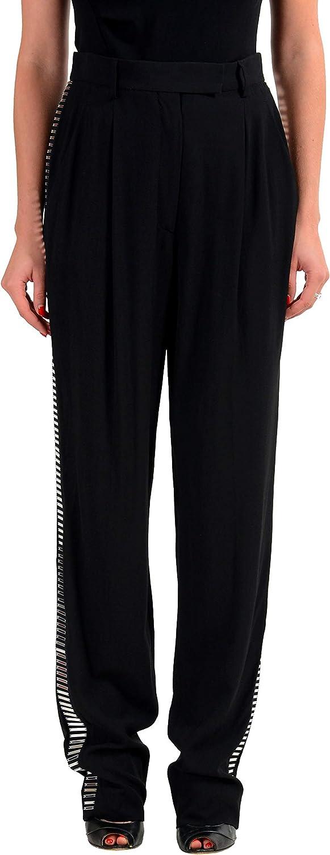 Viktor & Rolf Wool Black Embellished Women's Casual Pants US L IT 44
