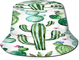 Fisherman Hat Cactus Plants Spikes Cartoon Green Sun Hat Women Men Eye Protect Breathable Bonnie Cap 3D Printed Beach Hat Durable&Reversible for Summer Outdoor
