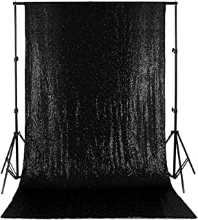 Black Sequin Backdrop 4ft x 8ft Wedding Curtain Backdrop Thanksgiving Day Christmas Halloween Decoration Sequin Fabric Party Decorations Backdrop for Photography