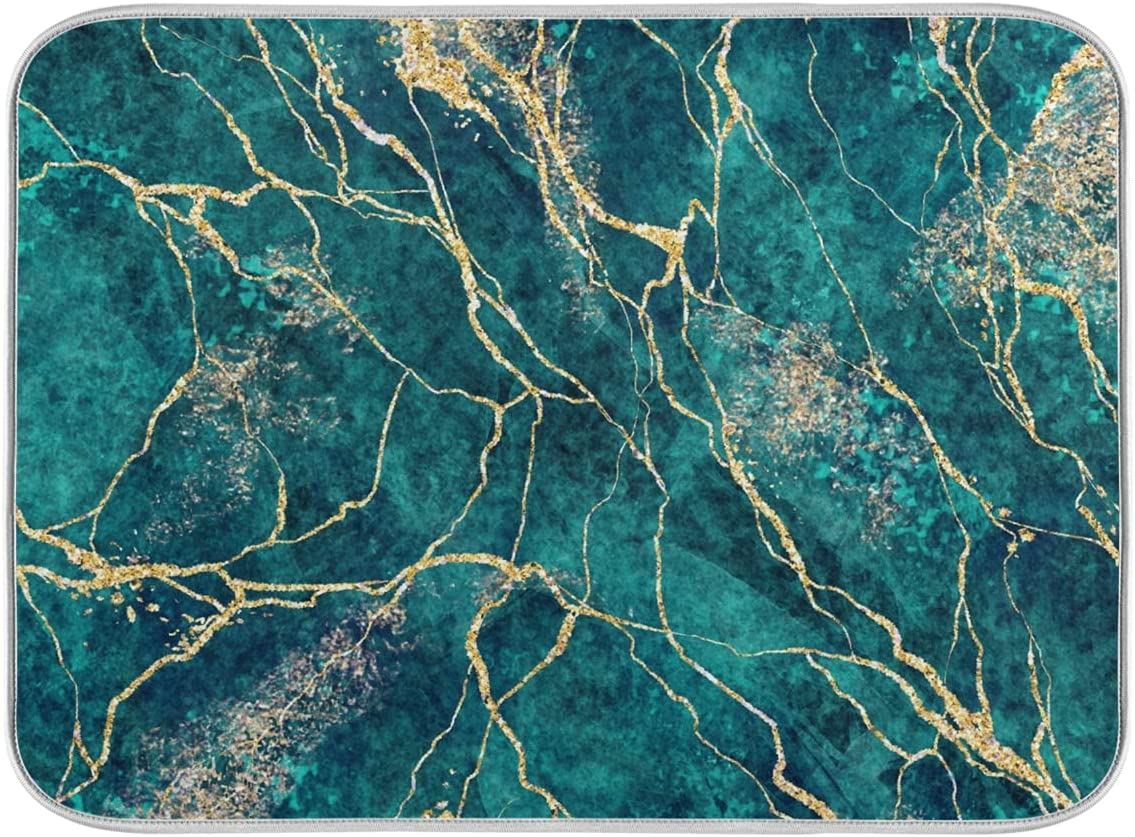 ZzWwR 3D Beautiful Turquoise Marble Dish Absorbent Max 47% OFF Print Drying Finally popular brand