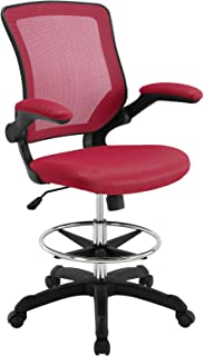 Modway Veer Drafting Chair In Red - Reception Desk Chair - Tall Office Chair For Adjustable Standing Desks - Flip-Up Arm Drafting Table Chair…