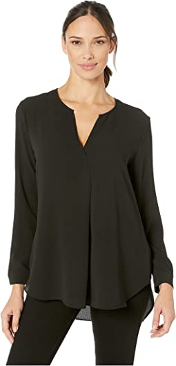 Long Sleeve Soft Texture Split-Neck Tunic
