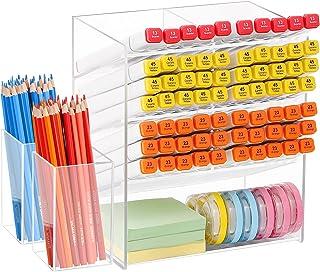Marbrasse Clear Pen Organizer Storage, Acrylic Desk Organizer with 12 Compartments, 400+ Pencil Holder Capacity, Pen Organ...