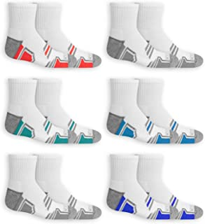 Fruit of the Loom Boys Active Ankle Socks, 6 Pack, Medium, Shoe Size 9-2.5