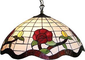 Lighting Web Co - Lampadario in vetro, 51 cm, collezione: Tiffany, fantasia: Rose, colore: rosso e arancione
