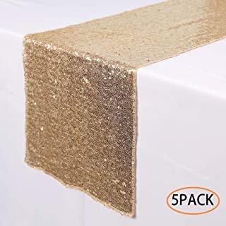 N&Y HOME 5 Pack Champagne Gold Sequin Table Runners 12x72 inch, Glitter Sequin Runner for Wedding, Birthday, Party, Baby Shower Decorations, Celebrations and Events