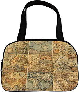 Increase Capacity Small Handbag Pink,Wanderlust Decor,Collage with Antique Old World Maps Vintage Style Ancient Collection of Civilization Print,Multi,for Girls,3D Print Design.6.3