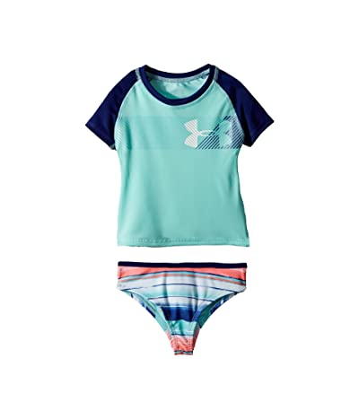 Under Armour Kids Hybrid Big Logo Rashguard Set (Toddler) (Tropical Tide) Girl