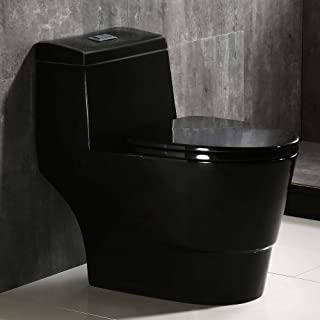 WOODBRIDGE T-0015 T-0015/B0941 Dual Flush Elongated One Piece Toilet with Soft Closing Seat, Comfort Height, Water Sense, Efficiency. High Gloss Black Color, Deluxe Square