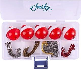 Smaky Fishing Tackle Kit Beginners Equipment 80 Pcs-Includes Fishing Hooks Bobbers Circle Octopus Hooks Sinkers  Starter K...