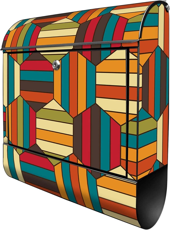 inkl Banjado Design Briefkasten personalisiert mit Motiv Gr/ünes Fahrrad Gr/ö/ße 39x47x14cm Montagematerial A4 Einwurf 2 Schl/üssel Stahl pulverbeschichtet mit Zeitungsrolle