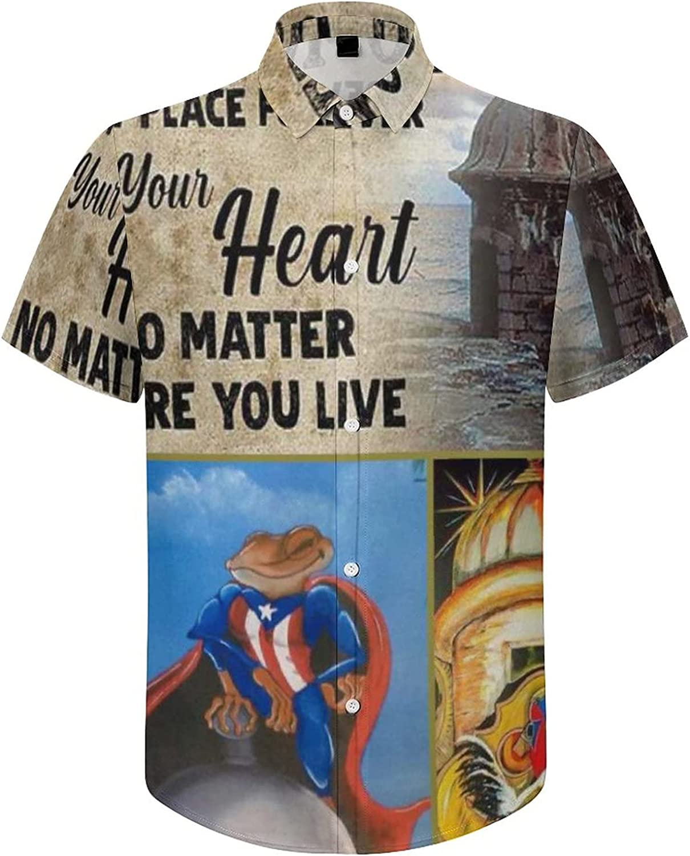 Men's Regular-Fit Short-Sleeve Printed Party Holiday Shirt Puerto Rico Frog Flag