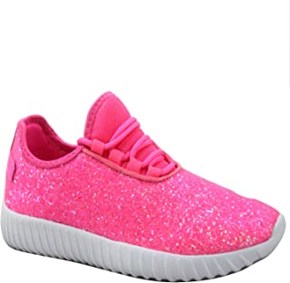 FZ-Zone-1k Youth Girl's Spuer Light Weight Lace Up Glitter Walking Sneaker Shoes (Hot Pink, Numeric_10)