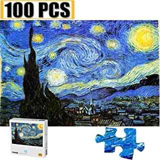 Cool Wall Decal Sticker Vinyl 100 Pieces Jigsaw Puzzles Puzzles for Adults Van Gogh Artwork Art for Teen Adult Grown Up Puzzles Large Size Toy Educational Games Gift 100 PCS Home Decor (Starry Night)
