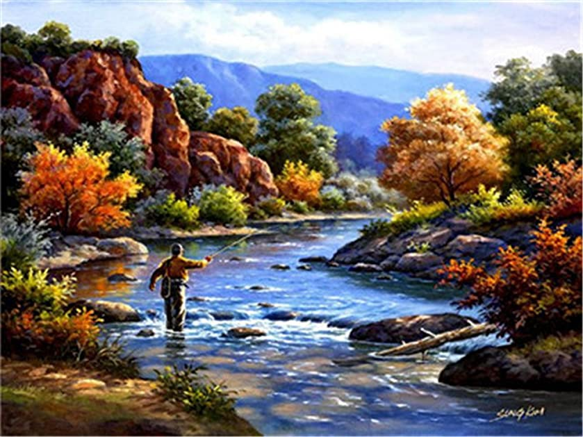 Diy Oil Paint by Number Kit for Adults Beginner 16x20 inch - Man Fishing, Drawing with Brushes Christmas Decor Decorations Gifts (Without Frame)