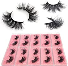 BEEOS 3D Mink Eyelashes Wholesale 10 Pairs, E11 Fluffy Full Volume 20mm Middle Long False lashes Reusable Lightweight Real Siberian Mink Lashes for Daily Use Natural Look (E11/10 Pairs)