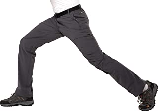 Men's Hiking Pants Lightweight Stretchy Cargo Pants with Side Elastic Waist, 5 Large YKK Zipper Pockets, Quick Dry