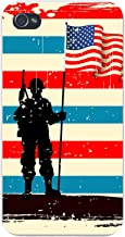 Apple iPhone Custom Case 5 5s and SE Snap on - United States USA Flag Stars & Stripes w/Military Soldier Silhouette