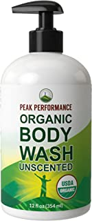 USDA Organic Body Wash - Unscented And Great For Sensitive Skin. Natural Organic Vegan Body Wash Made Organic Plant Oils A...